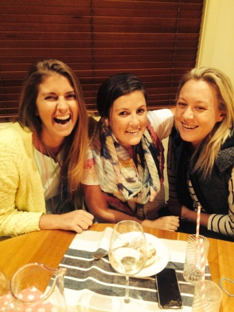 12/4/14 - Nikki's birthday dinner - must be laughing at one of Chriso's jokes!