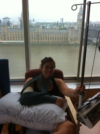 Big Ben and a hospital bed, London, England