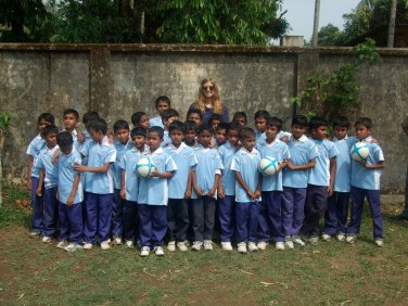 Donating Blue Mountains Soccer Jerseys to a Boys school in Sunamgunj, Bangladesh
