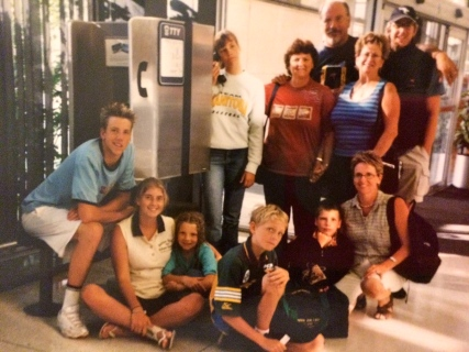 Saying goodbye at the airport to our Canadian Family in 2002, Winnipeg, Canada